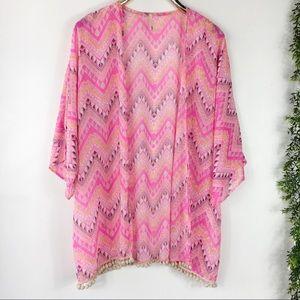 Voll Aztec Sheer Pom Pom Fringe Kimono XL